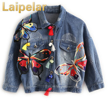 2018 New arrival womens butterfly Embroidery denim jacket Women Jeans Coats Ladys casual loose coat Female fashion outerwear