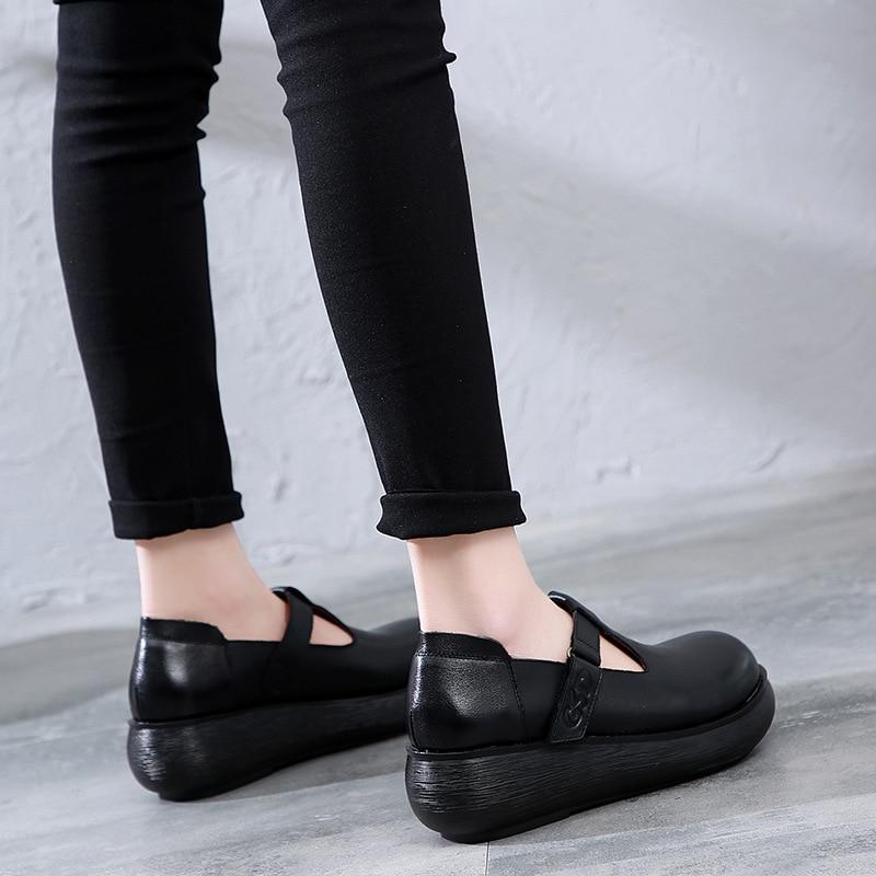 Women Leather Pumps T Strap Shoes 6 Cm High Heels Wedge Pumps Women Spring Shoes Retro 2019 Handmade Genuine Leather Women Pumps - 4