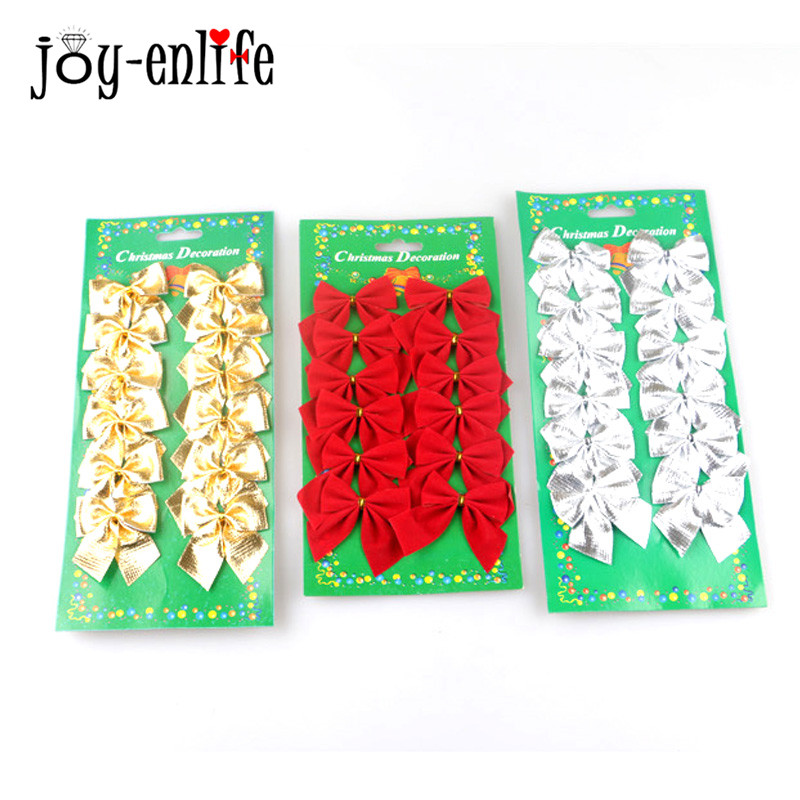 12Pcs Christmas Tree Decoration Gold Silver Red Christmas Bows Mini  Gift Bow DIY Bowknot Christmas Decorations For Home