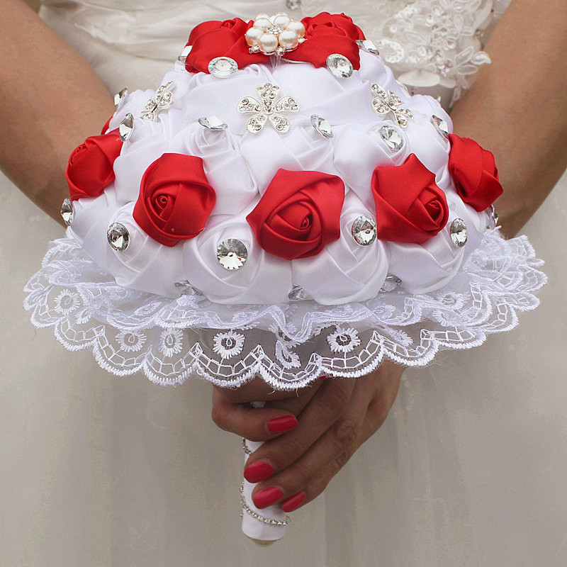 Image 4 - WifeLai A 1Piece Luxury White Red Rose Flowers Lace Brooch Bridal Bouquets Diamonds Stitch Wedding Decoration Bouquets W2281-in Wedding Bouquets from Weddings & Events