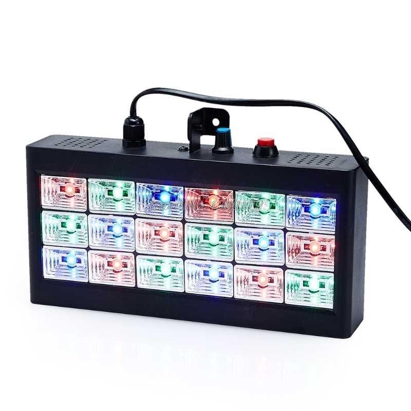 18 светодиодный RGB свет проектор стробоскоп свет для DJ клуба диско КТВ сцены вечерние шоу ЕС Plug 0-25W