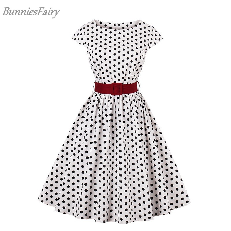 dc4231efb31 2018 Summer New Simple Preppy Style Polka Dot Plaid Floral Print Midi Dress  Short Sleeve with Red Sash Black Polka Dot in White-in Dresses from ...