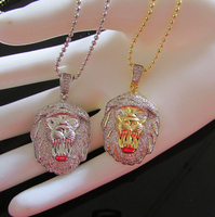 28inch lion head pendent winter necklace punk Rap style Rock hip hop YELLOW pure gold plating micro pave cz chain Gifts