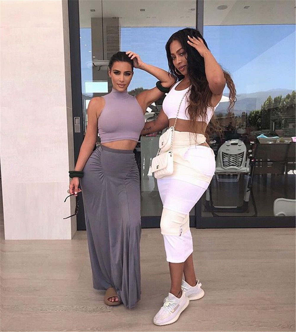 Gray Stretchy Snug Kylie Jenner Outfits Women Party Tank Tops And Long Ruched Skirts Sets Summer Two Piece Matching Tracksuit - kylie-jenner-outfits