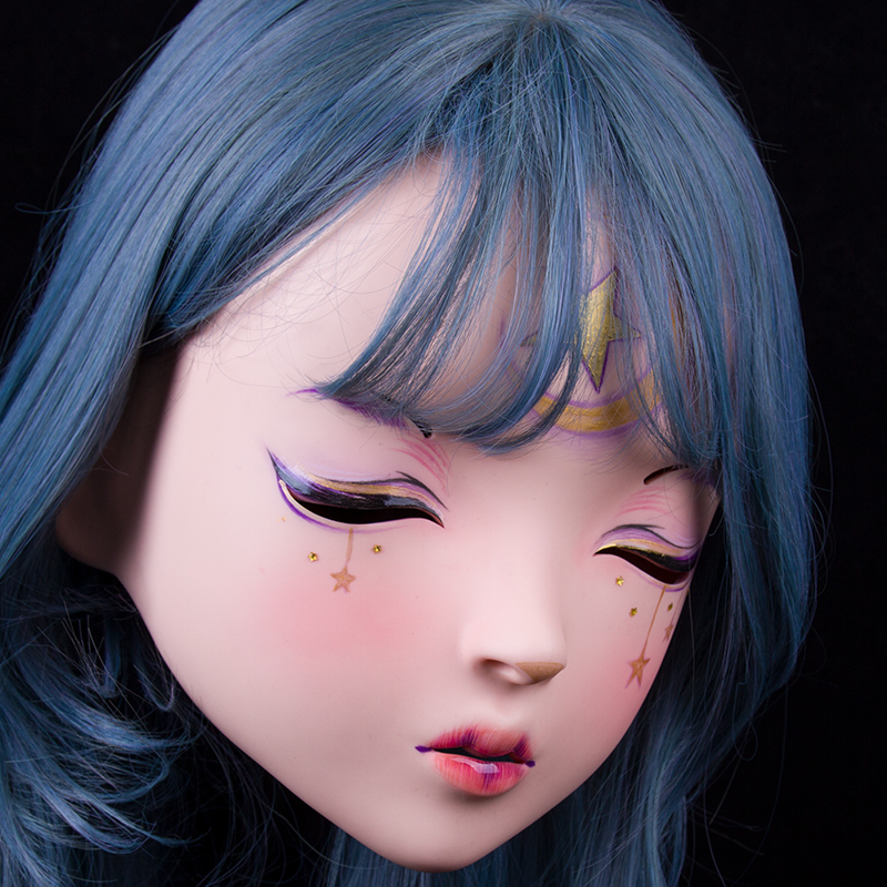 (LiLi Mask-28) Sweet Girl Resin Half Head Customize Cosplay Japanese Role Play Anime Silicone Kigurumi Mask Crossdresser Doll