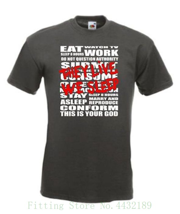 They Live John Carpenter 80s Movie T Shirt Tshirt O-neck Summer Personality Fashion Men T-shirts