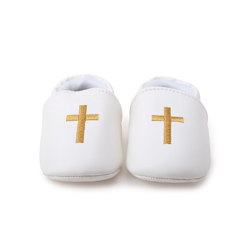 Delebao Pure White Christening Baptism Golden Cross Pattern Baby Boy Girl Slip on Shallow Shoes Only Shipped To US in First Walkers from Mother Kids
