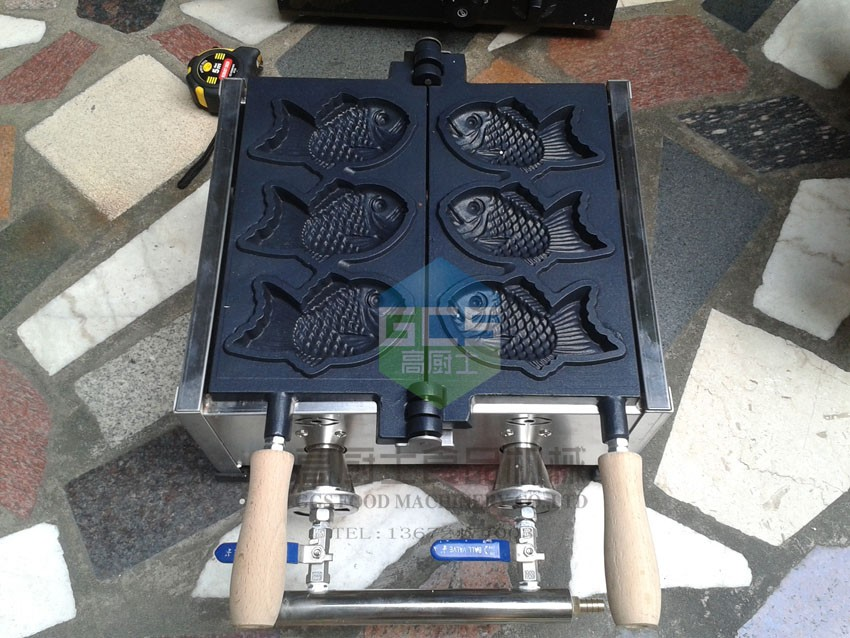Gas type 3 pcs Taiyaki maker machine Fish waffle maker 3 Pcs free shipping gas type 1 pcs taiyaki machine fish waffle maker