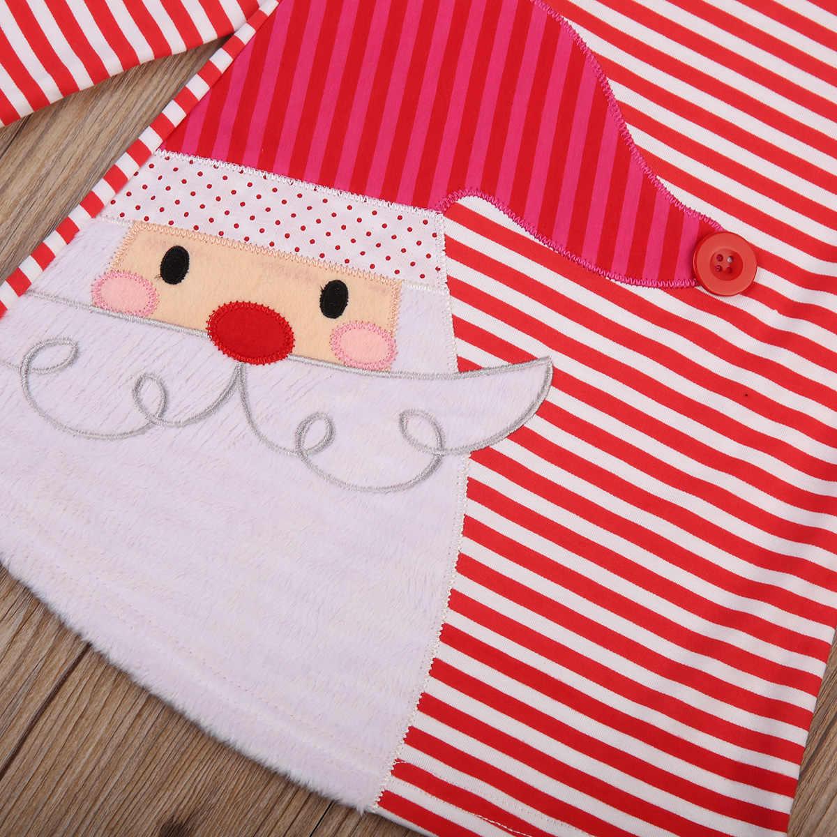 Canis Meisjes Kerst Jurk Kleding Gestreepte Santa Print Party Tutu Jurken Xmas Size 2-7T