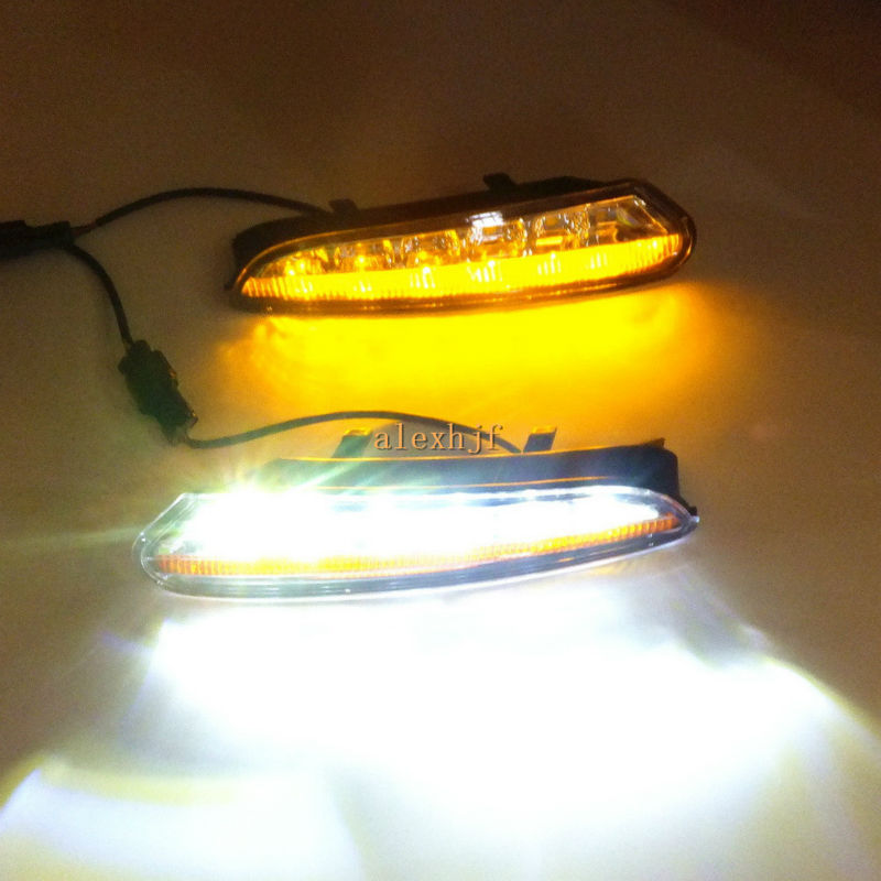 ФОТО July King LED Daytime Running Lights DRL at Headlight Lamp Eyebrow Yellow Turn Signals case for Buick ENCORE Opel Mokka 2013~16