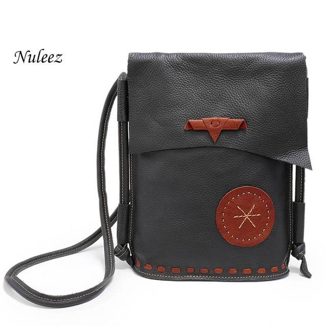 7d0bfafd67d9 Nuleez Genuine Leather Shoulder Bag Handmade Messenger Crossbody Bag Real  Leather Bucket Causal Handbags Bolsa Feminina 1215