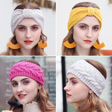 Bow Knot Turban Women Knitted Elastic Hairband Ear Warmer Winter Headband Girls Hair Band Accessories For Women