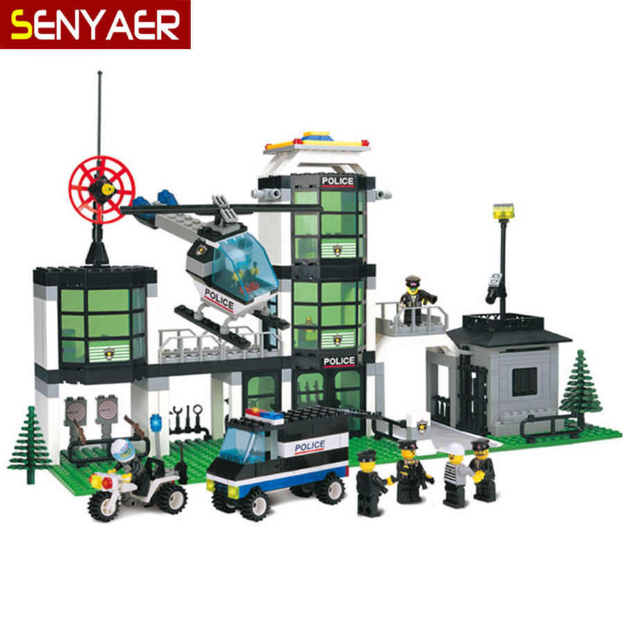 ФОТО Police Headquarters 110 466Pcs Building Blocks City Police Station 3D Motorcycle Helicopter Bricks Children Toys Gift