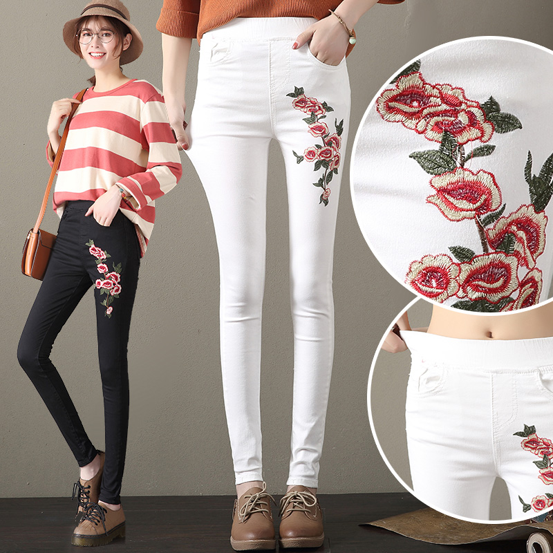 Floral Embroidery Jeans Female Slim Casual Denim Pants 2017 Autumn Skinny Jeans Woman Black Trousers Pockets Bottom Clothes 1100 2017 spring new women sweet floral embroidery pastoralism denim jeans pockets ankle length pants ladies casual trouse top118