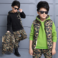 Boys child Camouflage 3 piece set child autumn and winter handsome 100% cotton sports set child casual clothes