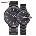 LONGBO Luxury Lovers Couple Watches Men Date Day Waterproof Women Black Stainless Steel Quartz Wristwatch Montre Homme 80075