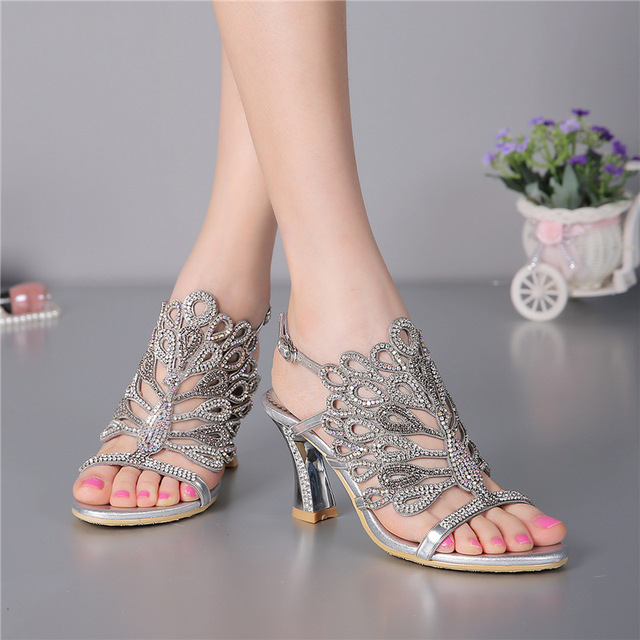 New Summer Cashmere Stiletto Heel Diamond Thick With Dress Silver Sandals  Wedding Party Evening High Heeled