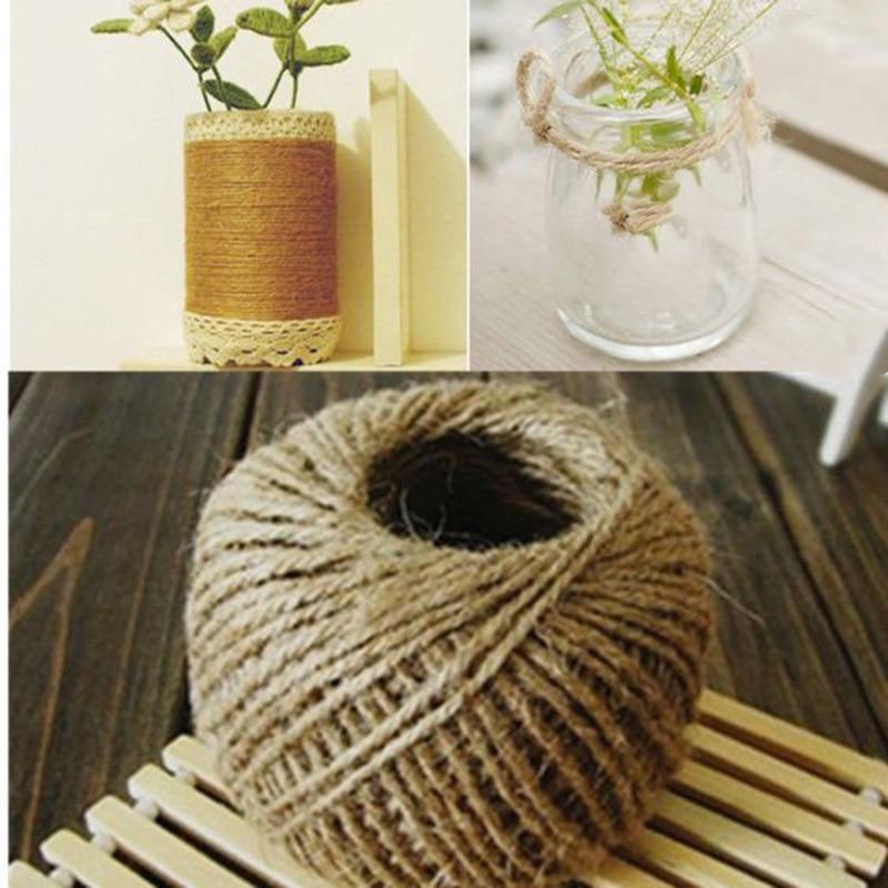 30M Natural Burlap Hessian Jute Twine Cord Hemp Rope String DIY Craft Rustic Wrap Gift Packing String Wedding Party Decoration