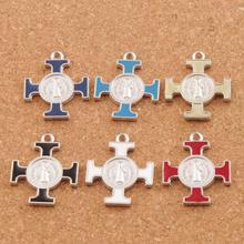 6Colors Enamel ST Saint Michael Cross Religious Medal Charm Beads 6pcs Antique Silver Pendants L1756 30x25.2mm