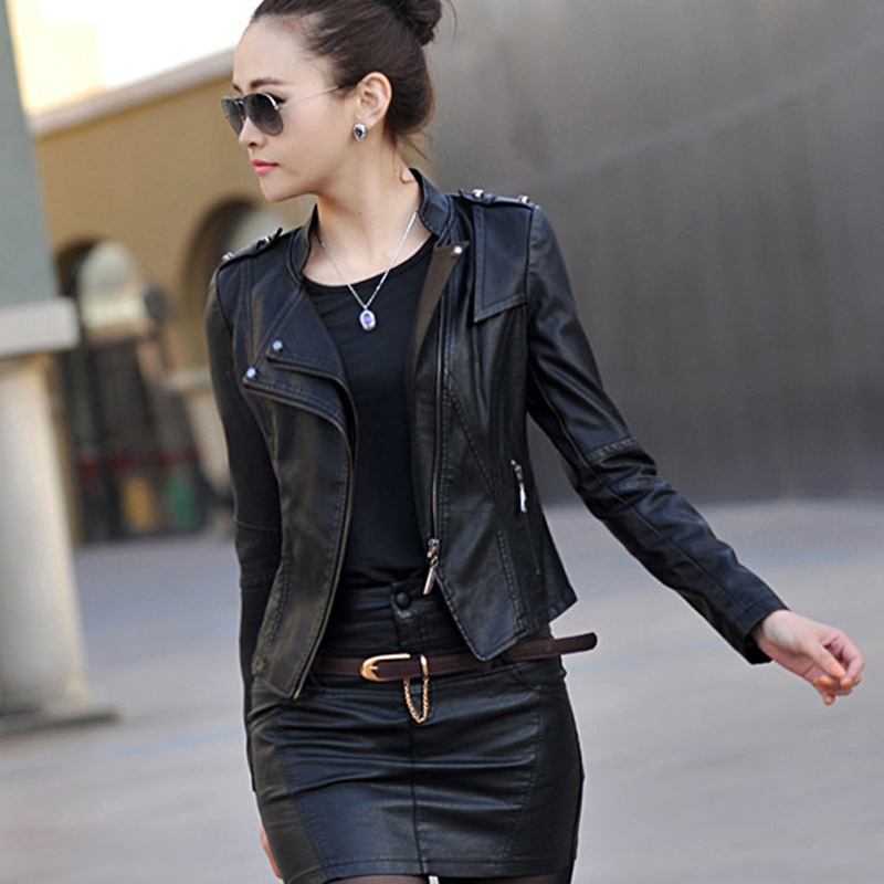 2018 autumn and winter women's PU short slim washed   leather   jacket women plus size stand collar faux sheep skin   leather   jackets