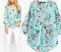 Mulheres flor impressão de três quartos manga Chiffon blusas verão Tops Blusa ocasional