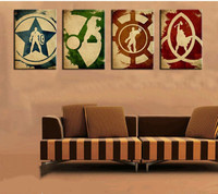 Hand Painted Marvel Comics Heroes Oil Painting Retro Movie Star of Iron Man Hulk Captain America Thor Posters 4 Panel Pictures