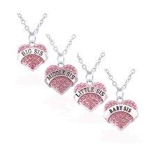 Семья член ювелирные изделия совпадающие ожерелья комплект хрустальное сердце BIG Sis средняя сестра маленький Sis сестренка для Для женщин Подарки(4 шт./компл