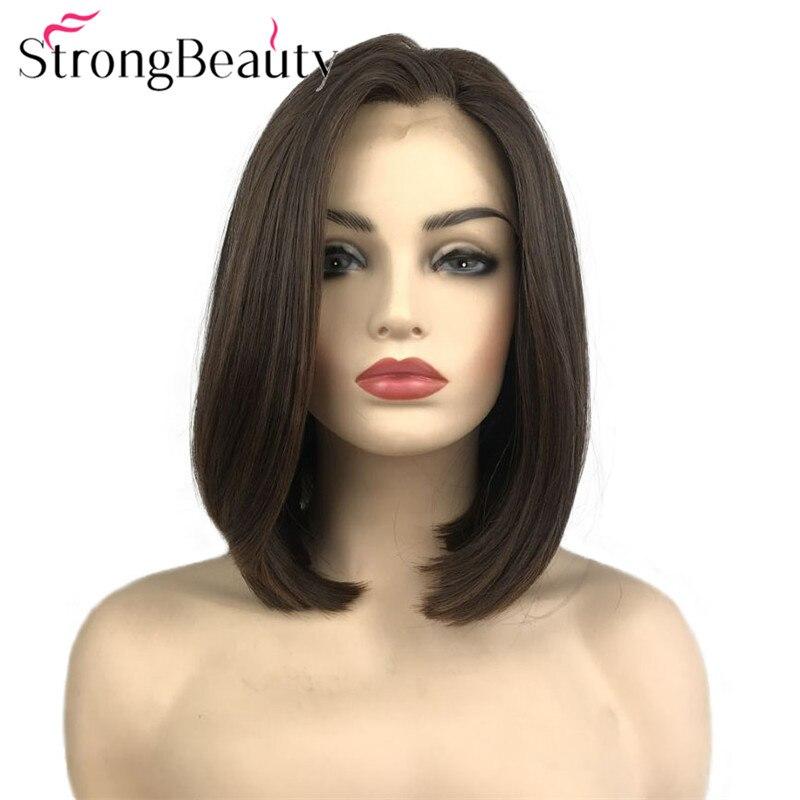 Perruque avant en dentelle strong beauty perruque courte Bob synthétique résistant à la chaleur sans colle perruques droites