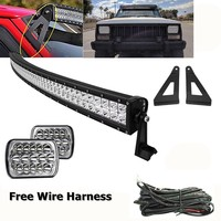 For 1984 2001 Jeep XJ Cherokee 50inch Curved LED Light Bar W/ Roof Mounting Brackets With Front 7X6 Led Headlight Set