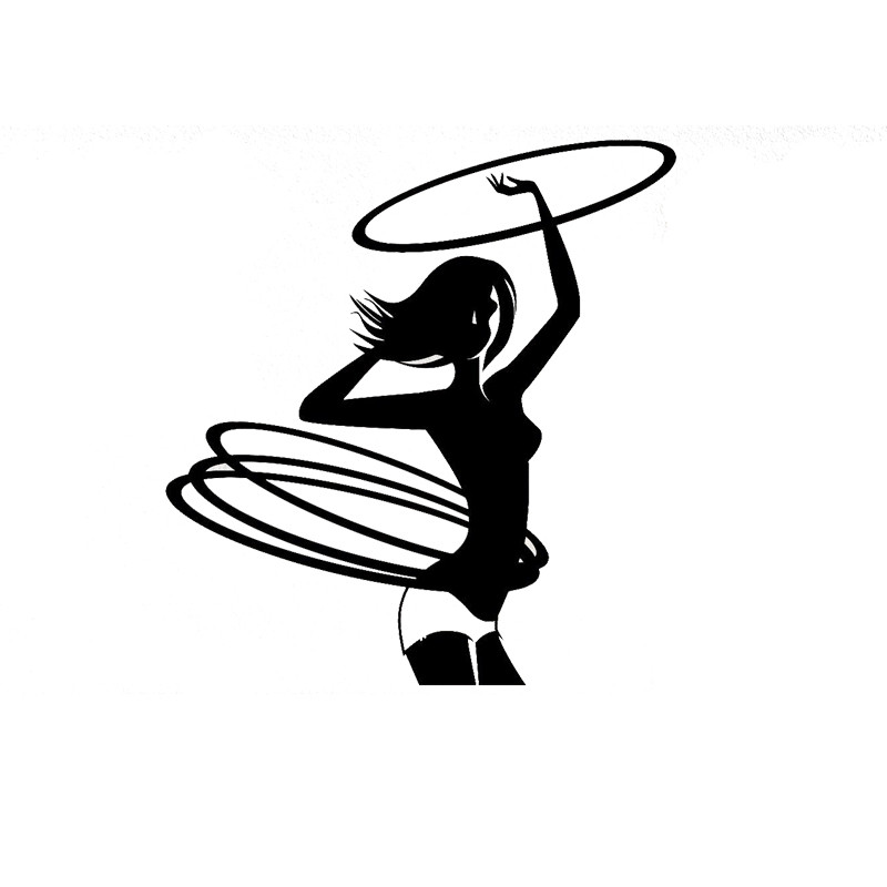 Car stying 12*13CM Hula Hoop Girl Fitness Cartoon Car Styling Decals Stickers 11 Colour Jdm