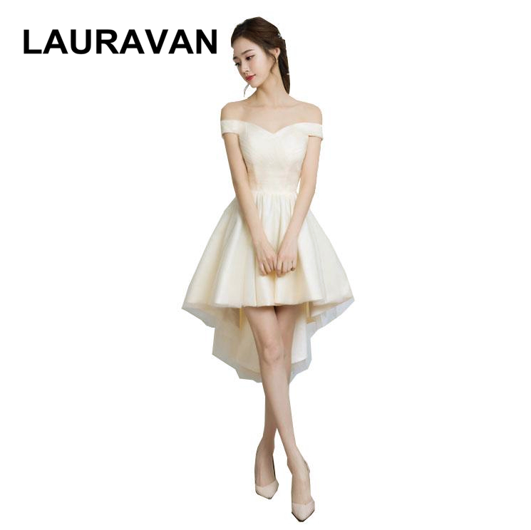 Champagne Cute Girls Vintage High Low Short Front Long Back Lace Up Back Formal Corset Puffy Bridesmaid Dresses For Teens