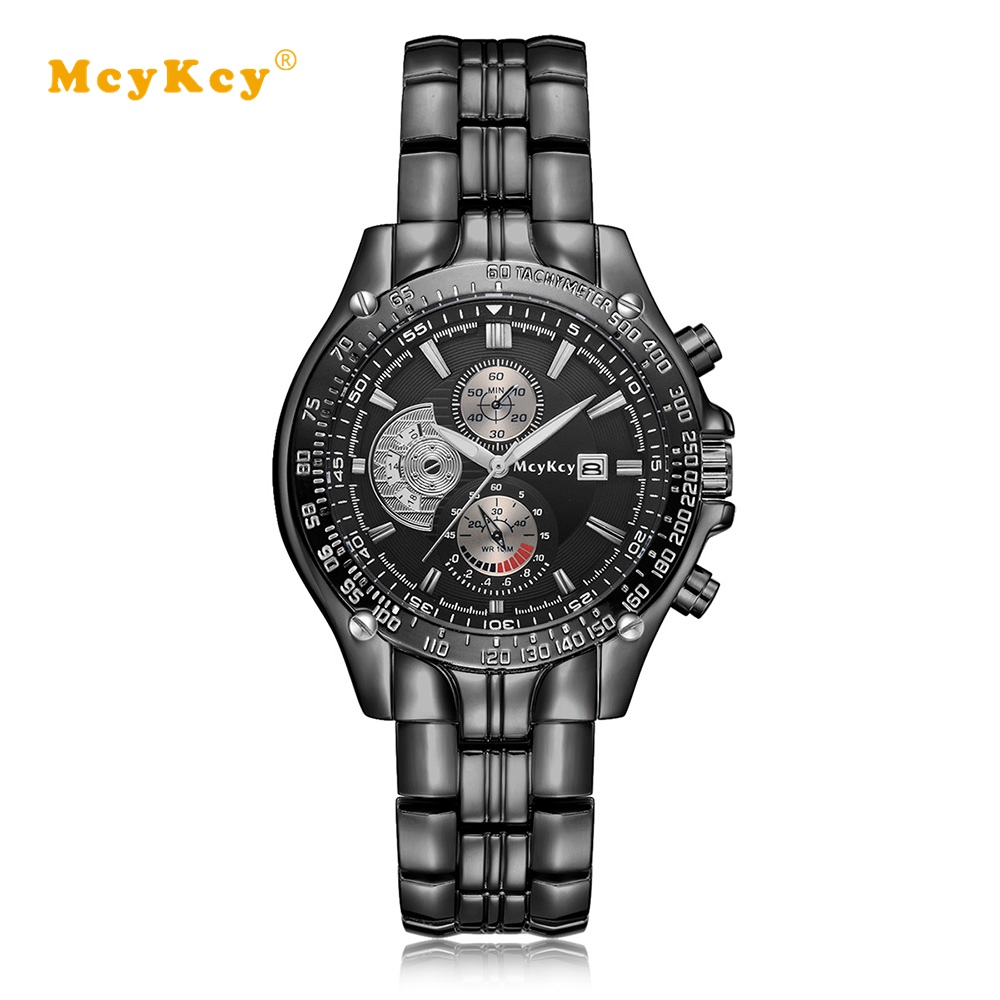 Mcykcy Brand 2017 Luxury Silver Men Watches Stainless Steel Quartz Wrist Watch Business Sport Male Dress Clock Mens Watch top brand luxury new silver watch women dress watches fashion men date leather stainless steel sport quartz wrist watch clock a1