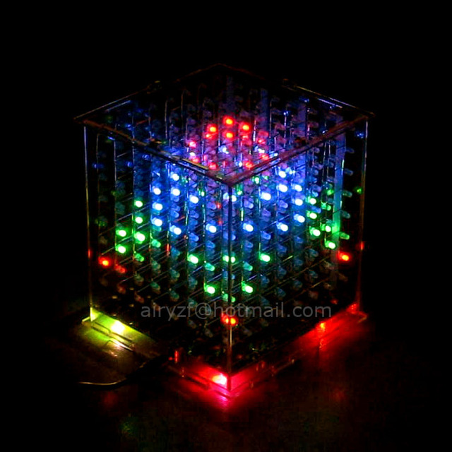In stock! DIY 3D 8s multicolor  mini light cubeeds LED DIY KIT Excellent animation 3D8 8x8x8 display fun kit,Christmas Gift