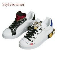 Stylesowner Crown Design White Shoes Women Genuine Leather Mixed Color Casual Shoes Diamond Metal Rivet Stud