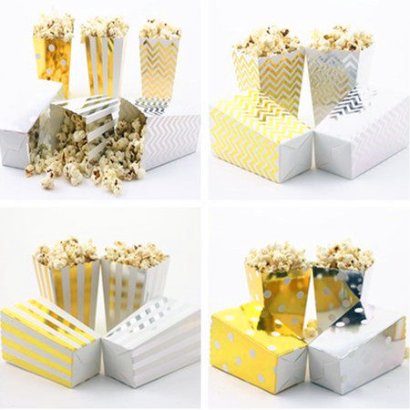 Free Shipping 36pcs Glitter Gold/Silver Paper Popcorn Box for Retro Party/Hollywood/Movie Metallic Theatre Food Loot Bags