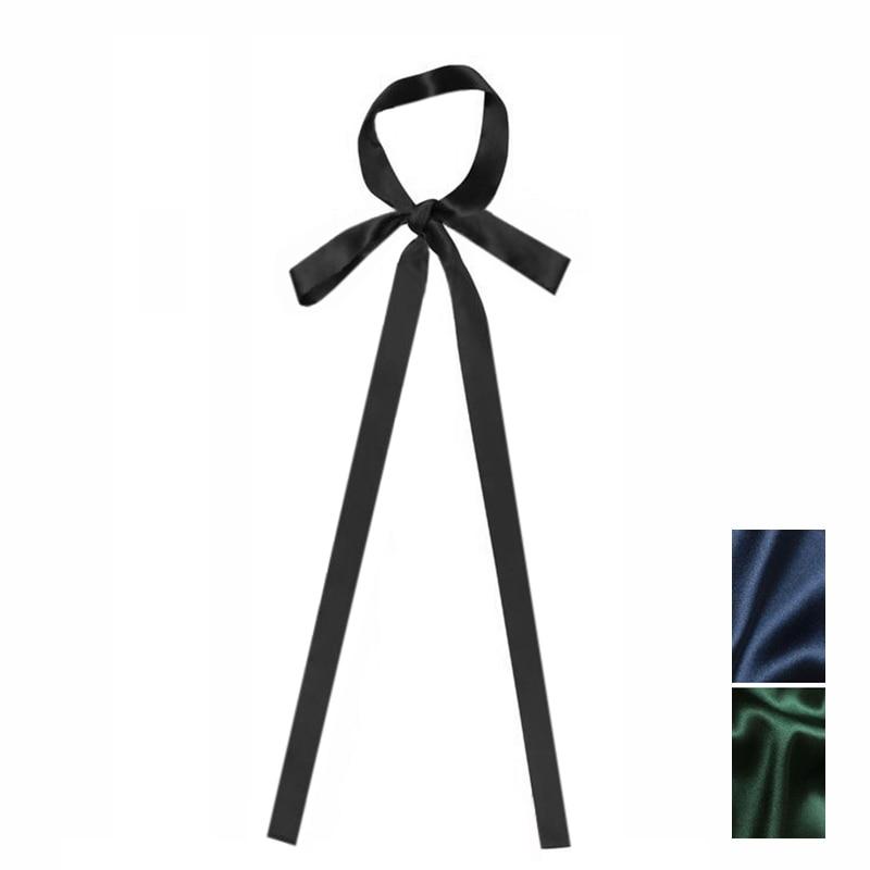 2pcs Unisex Fashion Long Skinny Neck Tie 100% Silk Solid Black Blue Green Color 160x2.5cm 180x2.5cm