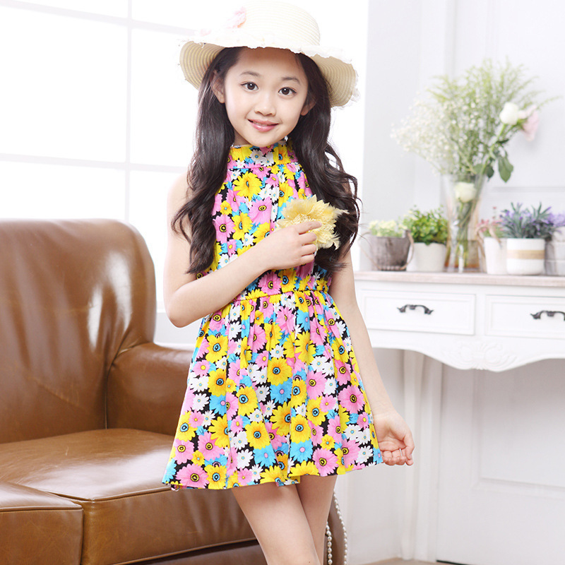 ea6d00103 2015 children girls floral dress vintage with flowers for decoration  teenage pattern princess summer kids clothes-in Dresses from Mother & Kids  on ...
