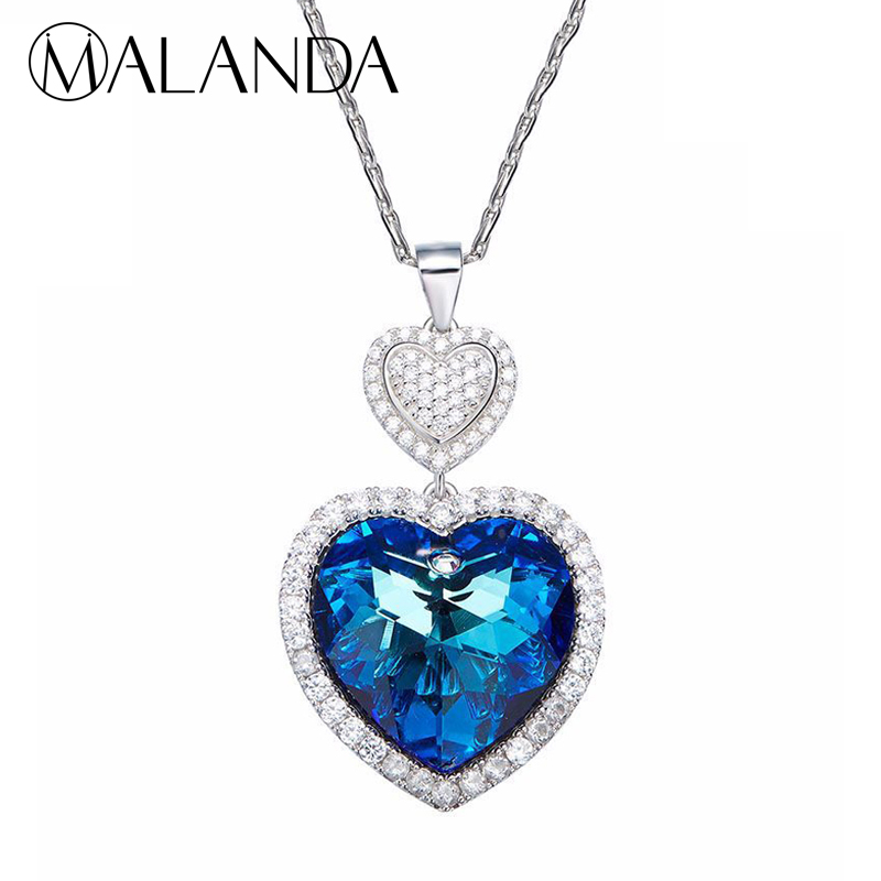 MALANDA 925 sterling silver Necklace Double Heart Shaped Crystal From Swarovski Pendant Necklaces For Women lady Jewelry Gift