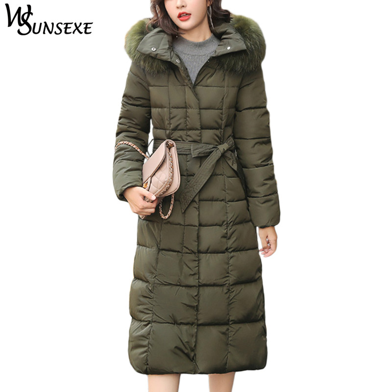 Women Winter Fur Collar Hooded   Parka   Coats Casual Solid Color Long Warm Cotton Down Jackets with Belt Female Plus Size Outerwear