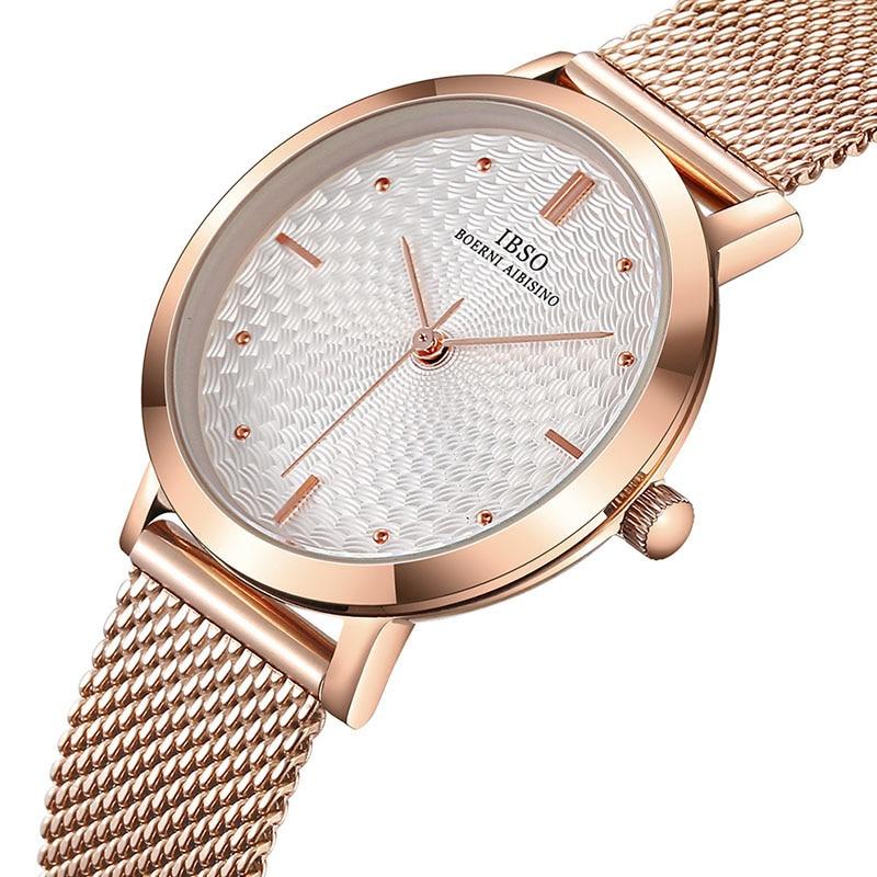 IBSO 8mm Ultra Thin Mesh Stainless Steel Strap Women's Quartz Watches Clock Fashion Femme 2019 Quartz Ladies Watch Relogio Mascu