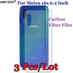 """3 шт./партия для Meizu 16s 6,2 """"3D нескользящий черный углерод волокно задняя пленка протектор экрана Защитная Наклейка"""