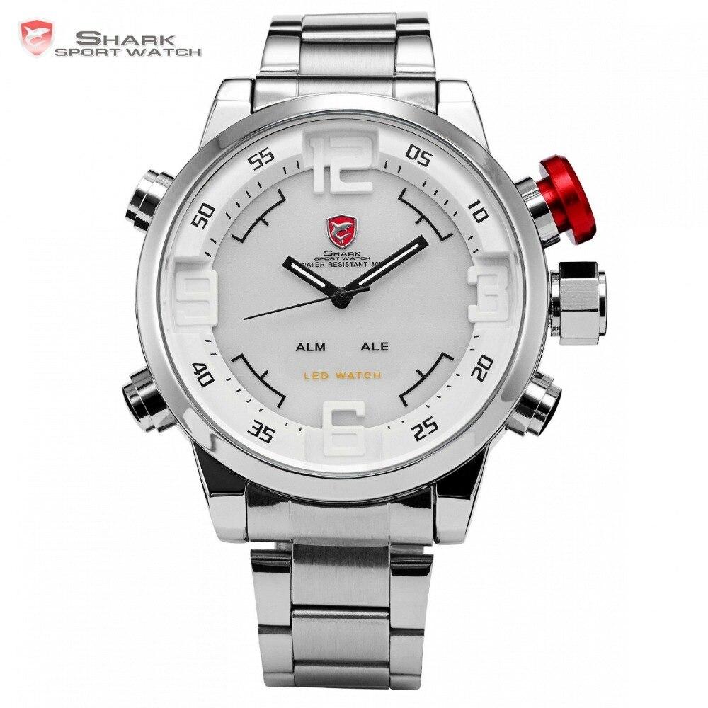 13cbdd0f69e Relógio de esporte de Gulper shark inoxidável completa aço prata movimento  Japão duplo Tempo data alarme quartzo Homens relógio de pulso  digitais sh104 em ...