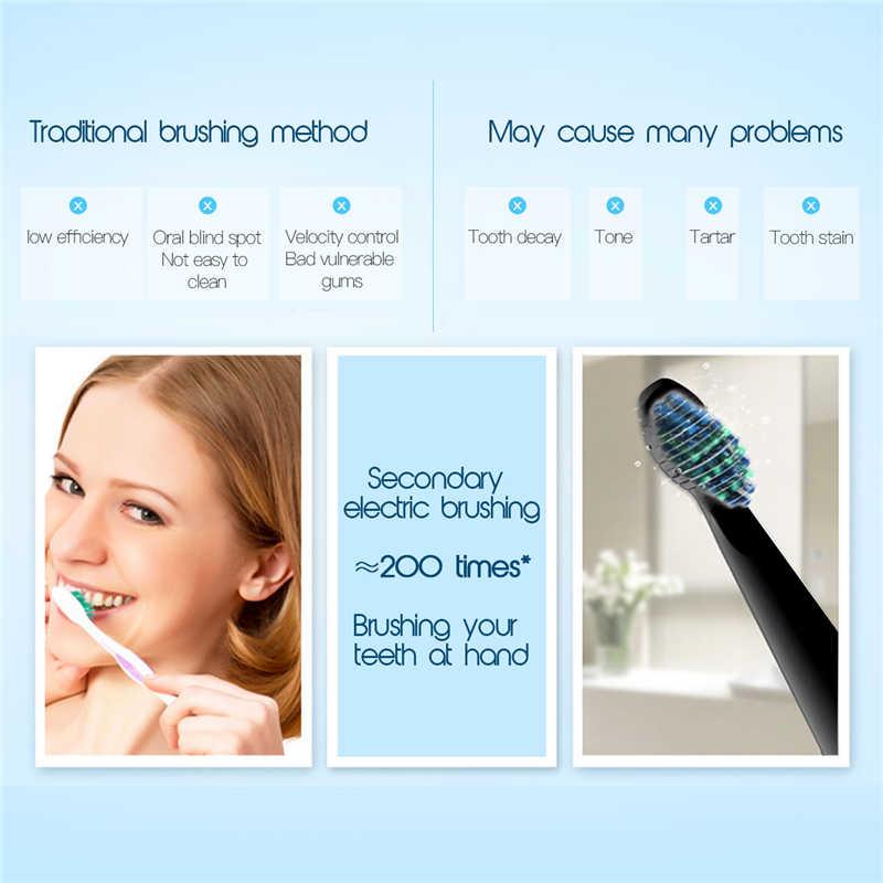 مقاوم للماء فرشاة أسنان كهربائية بالموجات الصوتية بطارية تعمل مع 2 فرشاة رؤساء صحة الفم المنتج لا فرشاة أسنان قابلة للشحن