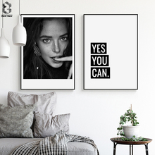 Nordic Canvas Posters And Prints Wall Art Life Quotes Paintings Pictures for Home Decoration, Girl Portrait Decor