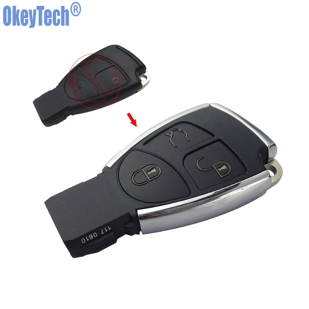 OkeyTech New Style Silver Side Modified 3 Button Remote Key Shell Case Fob for Mercedes Benz MB CLS C E S with Battery Holder jones new york men s vince two button side vent suit