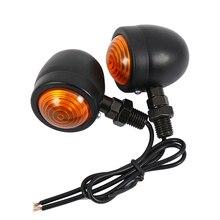 2 pcs Motocicleta Turn Signal Indicator Light Blinker Âmbar Motocicleta Motorbike Farol 12 v lâmpada Indicadora Bala preto