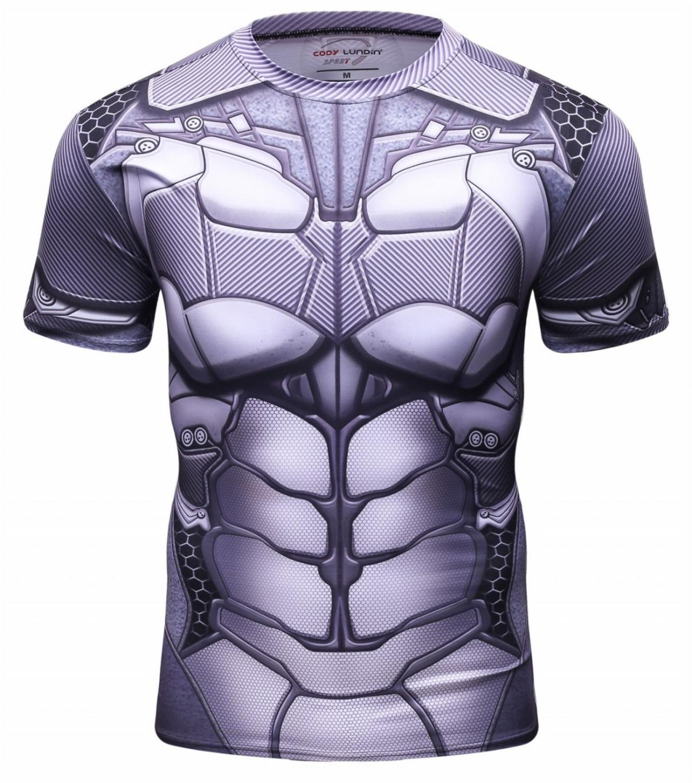 T-Shirt élastique pour hommes Super-héros Compression sport Fitness séchage rapide course à pied ajustement T-shirt col rond couche de Base