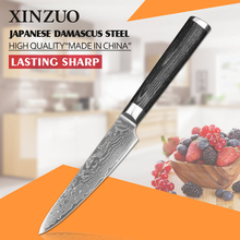 XINZUO 5 inch utility knife Damascus kitchen knives super sharp Japanese vg10 peeling knife K133 Pakka wood FREE SHIPPING