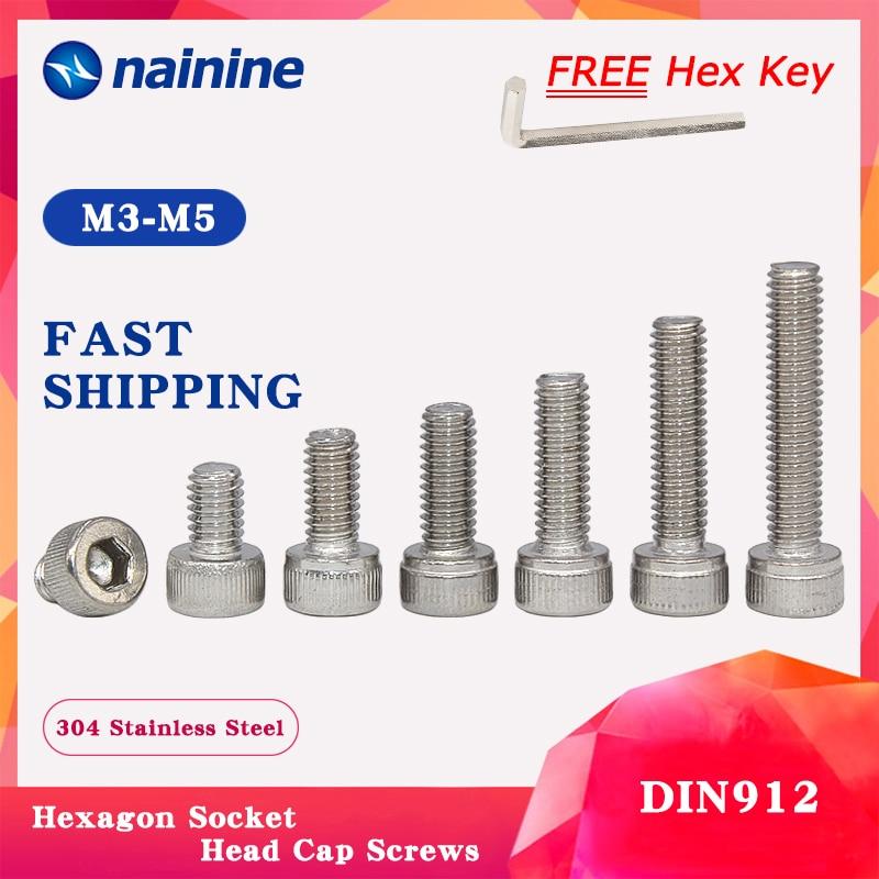 18-8 Metric 5 pcs Hex Socket Drive AISI 304 Stainless Steel M12-1.75 X 30mm Socket Head Cap Screws DIN 912