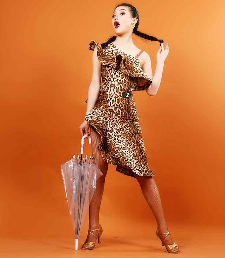大人/子供タッセルラテンダンスのドレス女性ガールズ/チャチャ/ルンバ/サンバ/タンゴ/ 社交ダンススカートラテンドレスヒョウ